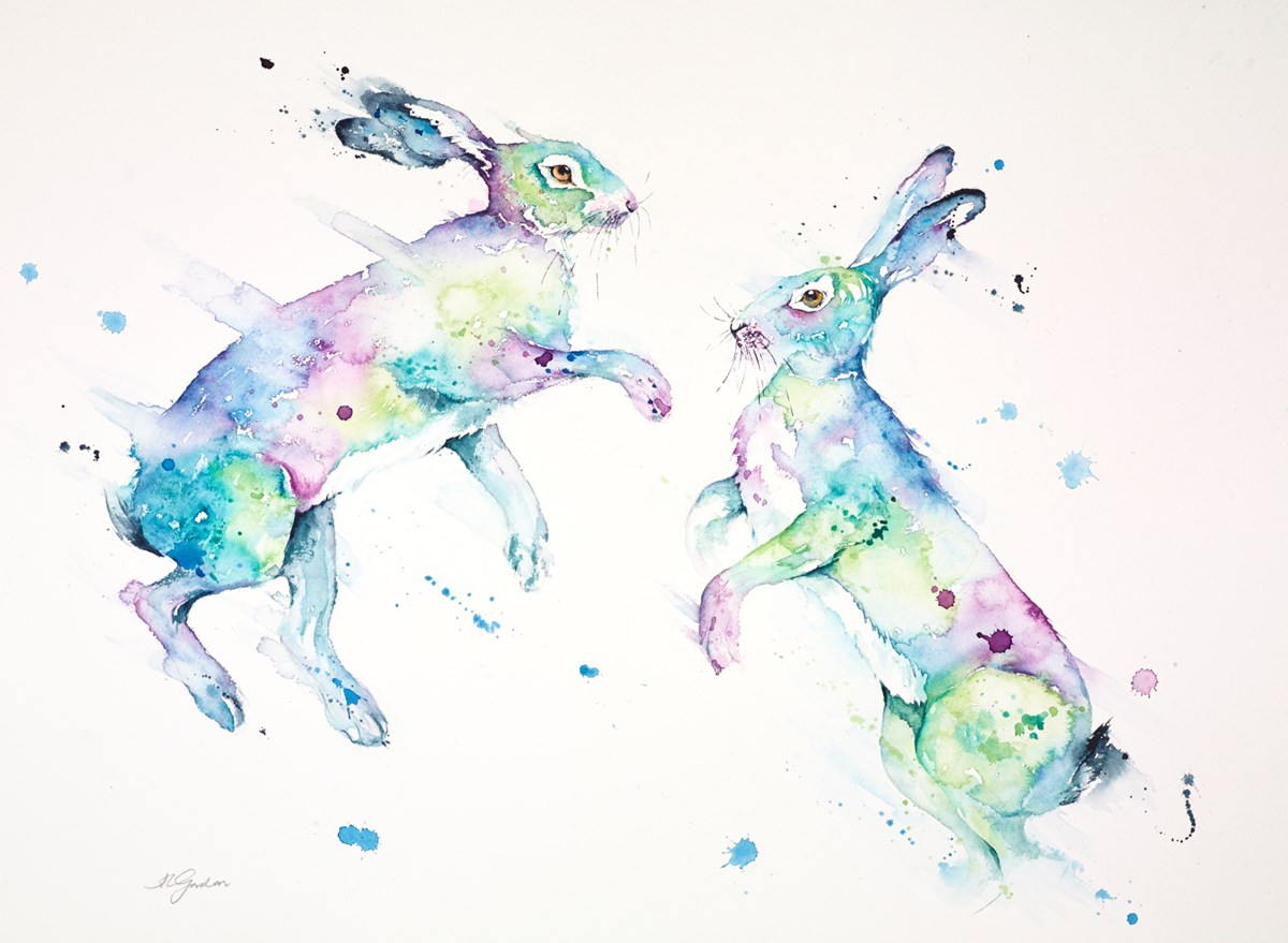 Spring in the Air - Boxing Hares